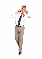 Full length of relaxed mature business man pointing at you on white background