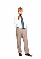 Full length of mature business man holding mobile phone over white background