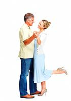 Full length of beautiful mature couple dancing on white background