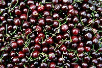 black cherries on a market