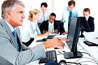Portrait of a successful mature businessman working on computer with his team in background