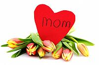 fresh tulips and heart for mom