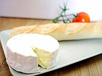 Camembert and Baguette on a plate