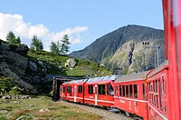 Train ride with Rhätische Bahn on the Bernina line from Ospizio Bernina to Poschiavo  Switzerland, Western Europe, Graubünden, Bernina, UNESCO World H...