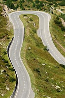 Switzerland, Western Europe, Grimsel region, Grimselpass  Southern ascent of the Grimsel mountain road from Gletsch towards the top of the Grimsel mou...