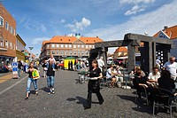street cafe at a lively square, Denmark, Bornholm, Roenne