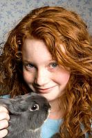 Redheaded Girl with Rabbit
