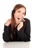 young callcenter agent lady with lollipop