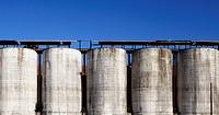 Row of grain silos