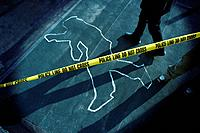Chalk Outline at Police Crime Scene