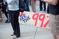 Chicago, Illinois - 'Occupy Chicago' members protest economic inequality in Chicago's financial district  They are part of the 'Occupy Wall Street' mo...