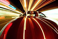 Car and light streaks