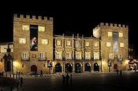Spain, Asturias, Gijon, Palacio de Revillagigedo 18th C by night.