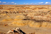 view into a valley of colourful badlands, USA, New Mexico, Bisti Badlands Wilderness Area