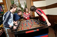 Friends Playing Foosball, Tabletop Soccer