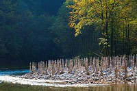 stacked stones at river Erlauf, Austria, Lower Austria, Naturpark Oetscher_Tormaeuer