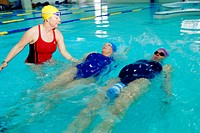 Swimming Instructor Coaching Pregnant Women