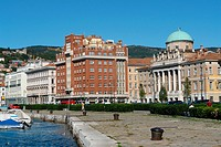 geography / travel, Italy, Trieste, Avenida 3. Nov. with Palazzo Carciotti at the sea_front,