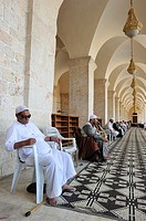 Pilgrims praying in the great mosque of Aleppo  Syria