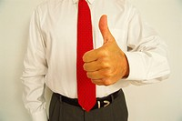 Man showing hand with thumbs up