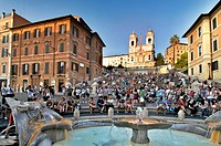 Fontana della Barcaccia fountain and tourists on the Spanish Steps, Piazza di Spagna, Rome, Italy, Europe