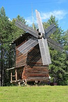 geography / travel, Russia, Wooden wind mill, open air wooden architecture museum, Malye Korely, near Archangelsk, Archangelsk Arkhangelsk region,