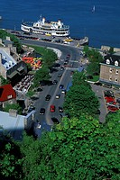 Aerial view of Lower Town from Dufferin Terrace, Quebec City, Quebec