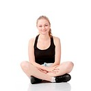 Beautiful young blonde exercising