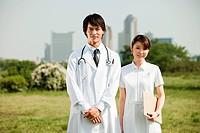 Male doctor and female nurse, portrait