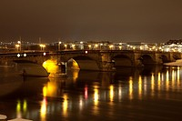 geography / travel, Germany, Saxony, Dresden, Augustusbruecke, night shot,