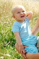 Adorable baby boy outdoors