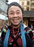 Black Hmong hilltribe woman market Sapa Vietnam