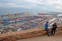 port of Barcelona from Montjuic Castle, Catalonia, Spain