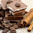 chocolate, cinnamon sticks and coffee beans