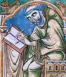 people, professions, scrivener, monk Eadwin with penknife and quill, detail from Eadwin_Psalter, Canterbury, mid 12th century,