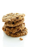 Close up of stack of oatmeal cookies
