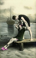 sports, watersports, lifesaver rescuing woman from the river, riverside, Germany, circa 1917,