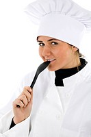 female cook keeping in mouths spoon