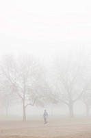 Person Walking in Fog
