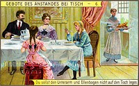 food, family having dinner, table manners, rule: Don´t put forearm and elbow on the table!, collector´s picture, lithograph, Germany, circa 1905,