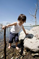 Toddler Playing on a Lake Shore, Cap_Saint Jacques, Quebec