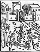 architecture, construction work, architect and workers, woodcut, Rudimentum novitiorum, printed by Lucas Brandis, Lubeck, 1499,