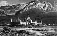 geography / travel, Spain, Madrid, El Escorial, exterior view, wood engraving, 1894,