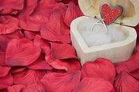 Diamond Engagement Ring in a wooden box with fake red rose petal