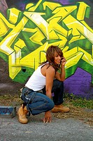 Beautiful Mature Black Woman with Graffiti 13