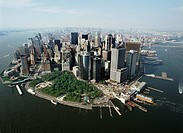 The Financial District on the southern tip of Manhattan. The large green space is Battery Park.