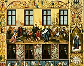 geography / travel, Germany, Augsburg, Fugger Houses, Maximilianstrasse, exterior view, detail, fresco by Hans Burgkmair, art postcard, J. J. Brack, A...