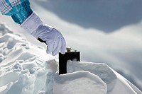Hipflask in snow