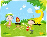 The image of children putting out fire