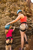 Mother and Daughter Rock Climbing